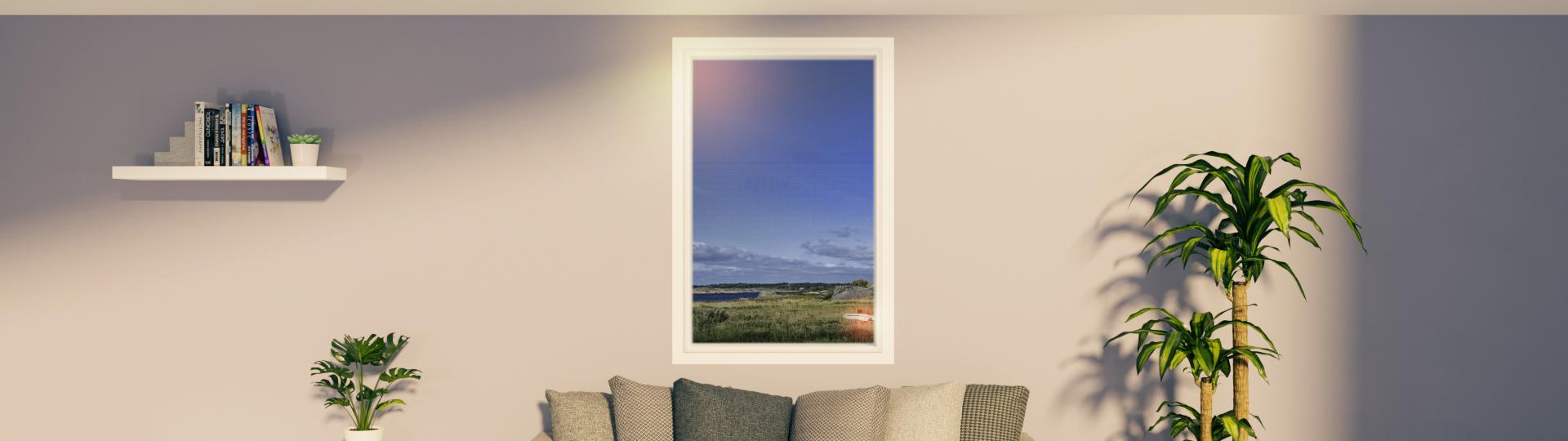 Bilde av stue med vindu i fokus